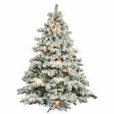 Flocked Alaskan 6.5' Artificial Christmas Tree with Clear G50 Lights