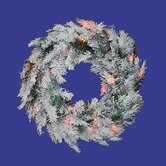 30&quot; Prelit Flocked Alaskan Wreath
