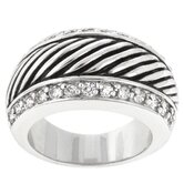 Round Cut Clear Cubic Zirconia Accents Zebra Safari Cocktail Ring