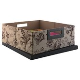 Media Storage Bin in Neutral & Chocolate Floral Print