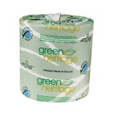 "Green Heritage Toilet 4.4"" Tissue, 2-Ply, 500/Roll"