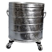 "Galvanized 8 Gallon Round Mop Bucket with 2"" Casters"