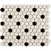 "Retro 11-3/4"" x 10-1/4"" Porcelain Mosaic in Matte White with Black Dot"