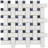 "Basket Weave 9-3/4"" x 9-3/4"" Porcelain Mosaic in White and Blue"