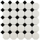 Retro 11-1/2&quot; x 11-1/2&quot; Porcelain Octagon Mosaic in Matte White with Glossy Black Dot