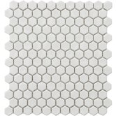 "Retro 12"" x 10-7/8"" Porcelain Hexagon Mosaic in White"