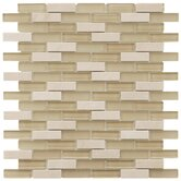 "Sierra 11-3/4"" x 11-3/4"" Glass and Stone Subway Mosaic in Sandstone"