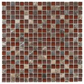 "Sierra 11-3/4"" x 11-3/4"" Glass and Stone Mini Mosaic in Bordeaux"