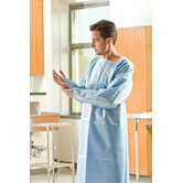 "46"" x 42"" Protective Gowns Spunbond / Poly,  Back Open, Thumb Loop in Blue"