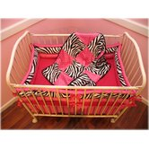 Hot Pink Zebra Mini Crib Bedding Collection