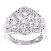Sterling Essentials Sterling 35 Prong Silver Cubic Zirconia Flower Ring