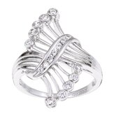 Sterling Essentials Sterling Silver Cubic Zirconia Bypass Ring
