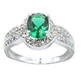 Sterling Essentials Sterling Silver Cubic Zirconia Cocktail Ring in Green/White