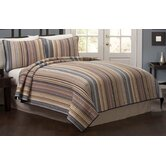 Morning Stripe Quilt with Two Shams