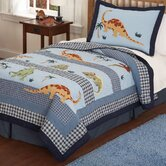 Dino Dave Blue Quilt with Pillow Sham, Pillow, and Valance