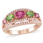 Silver Pink Rhodium Plated Tourmaline and Cubic Zirconium Fashion Ring
