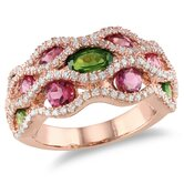 Silver Pink Rhodium Plated  Pink and Green Tourmaline and Cubic Zirconium Fashion Ring