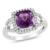 White Gold Round Cut Diamonds and Alexandrite Fashion Halo Ring