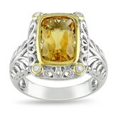 Sterling Silver Cushion Cut Citrine Multi Stone Ring