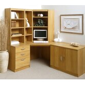 Home Office Corner Desk / Workstation with Pedestal, Cupboard and Bookshelves