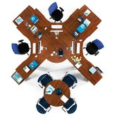 Conference Table with L-Shaped Workstation and Optional Chairs