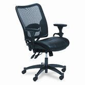 Space Air Grid Series Deluxe Leather Chair, Gunmetal GY Finis, Black