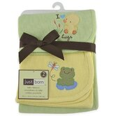 Just Born Thermal Blanket Sage Duck and Yellow Frog (Set of 2)