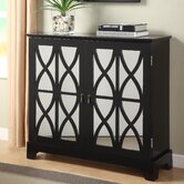Console Cabinet with Mirrored Glass Doors in Black