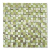 "Impact 5/8"" x 5/8"" Glass, Tile, and Metal Mosaic in Green Tea Metal"