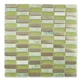 "Impact 5/8"" x 1-7/8"" Glass, Tile, and Metal Mosaic in Green Tea Metal"
