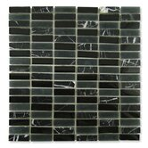 "Impact 5/8"" x 1-7/8"" Glass, Tile, and Metal Mosaic in Midnight"