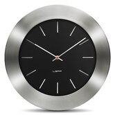 Bold Wall Clock with Black Index Dial in Steel