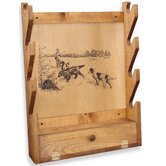 4 Gun Wooden Rack with Hunting Dogs Print