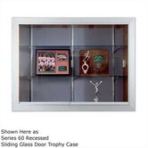Series 70 Recessed Hinged Glass Door Trophy Cases - Natural Cork / Wood Veneer (With Lighting)