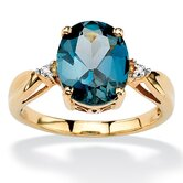 18k Gold/Silver London Blue Topaz Ring