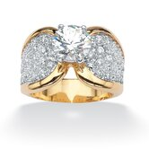 14k Gold Plated Two Tone Round Cubic Zirconia Pave Ring