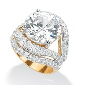 Gold Plated Cubic Zirconia Split-Shank Ring