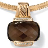 14k Gold Plated Smoky Quartz and Cubic Zirconia Pendant/Enhancer