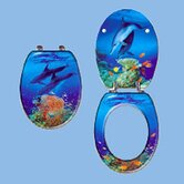 Scenic Premium Toilet Seat with Dolphins Under Water Design