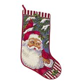 Santa with Cardinals Needlepoint Stocking