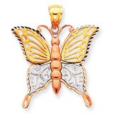14k Tri-color Diamond-Cut Butterfly Pendant