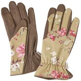 Victorian Rose and Brown Print Glove, Hat and Apron Set