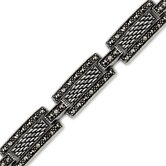 Inspirational Beauty Sterling Silver Marcasite Antique Style 7 inch Rectangular Link Bracelet
