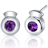 Sleek Radiance 1.00 Carat Amethyst Round Cut Earrings in Sterling Silver
