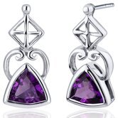 Ornate Class 1.50 Carats Gemstone Trillion Cut Earrings in Sterling Silver
