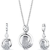 Amazing Grace Sterling Silver Circle Pendant Necklace Earrings Set with Cubic Zirconia