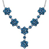 Flower Design 13.75 carats Round Shape London Blue Topaz Multi-Gemstone Necklace in Sterling Silver