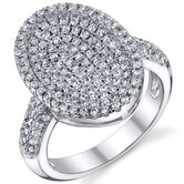 Sterling Silver Rhodium Finish Oval Machine Cut White CZ Dazzling Ring