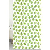 Shower Curtains Peva Leaf Shower Curtain in White / Green