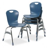 Ergonomic Stack Chair, 18h Zuma Bucket Seat, Blueberry, Four/Carton